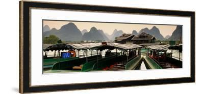 China 10MKm2 Collection - Chinese Boats with Karst Mountains at Sunset-Philippe Hugonnard-Framed Photographic Print