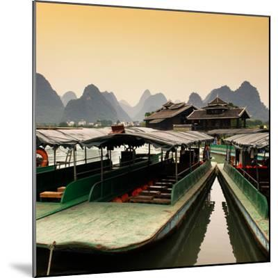 China 10MKm2 Collection - Chinese Boats with Karst Mountains at Sunset-Philippe Hugonnard-Mounted Photographic Print