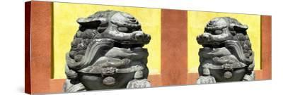 China 10MKm2 Collection - Asian Sculpture with two Lions-Philippe Hugonnard-Stretched Canvas Print