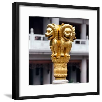 China 10MKm2 Collection - Golden Chinese Lion Statue Jing An Temple - Shanghai-Philippe Hugonnard-Framed Photographic Print