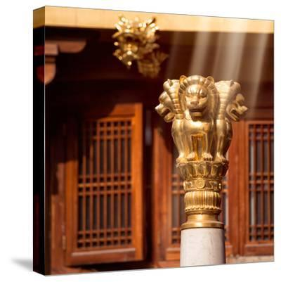China 10MKm2 Collection - Golden Chinese Lion Statue Jing An Temple - Shanghai-Philippe Hugonnard-Stretched Canvas Print