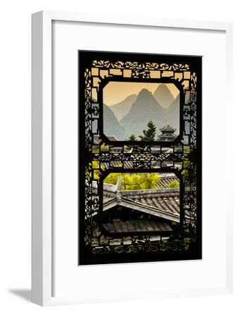 China 10MKm2 Collection - Asian Window - Chinese Buddhist Temple with Karst Mountains at Sunset-Philippe Hugonnard-Framed Photographic Print
