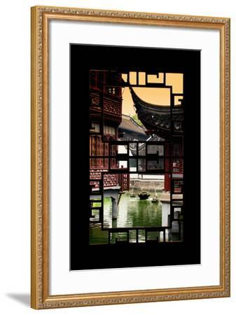 China 10MKm2 Collection - Asian Window - Traditional Architecture in Yuyuan Garden - Shanghai-Philippe Hugonnard-Framed Photographic Print