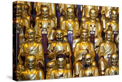China 10MKm2 Collection - Gold Buddhist Statues in Longhua Temple-Philippe Hugonnard-Stretched Canvas Print