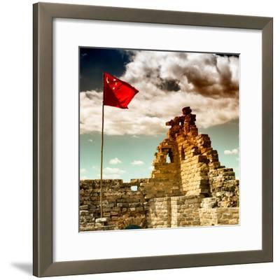 China 10MKm2 Collection - Great Wall with the Chinise Flag-Philippe Hugonnard-Framed Photographic Print