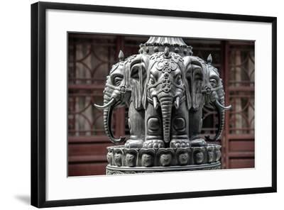 China 10MKm2 Collection - Detail Buddhist Temple - Elephant Statue-Philippe Hugonnard-Framed Photographic Print