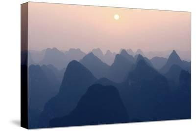 China 10MKm2 Collection - Karst Mountains at Pastel Sunset - Yangshuo-Philippe Hugonnard-Stretched Canvas Print