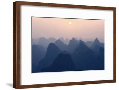 China 10MKm2 Collection - Karst Mountains at Pastel Sunset - Yangshuo-Philippe Hugonnard-Framed Photographic Print