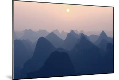 China 10MKm2 Collection - Karst Mountains at Pastel Sunset - Yangshuo-Philippe Hugonnard-Mounted Photographic Print