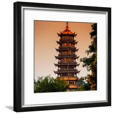 China 10MKm2 Collection - Pagoda at dusk-Philippe Hugonnard-Framed Photographic Print