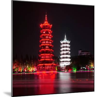 China 10MKm2 Collection - Sun & Moon Twin Pagodas-Philippe Hugonnard-Mounted Photographic Print