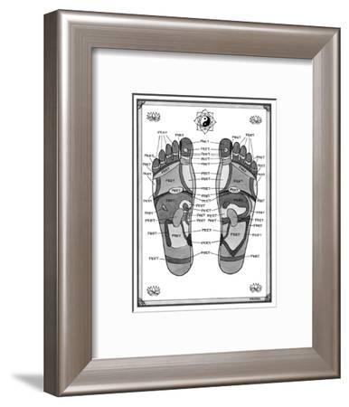 """A diagram of parts of the foot, with each part labeled """"feet."""" - New Yorker Cartoon-Pat Byrnes-Framed Premium Giclee Print"""