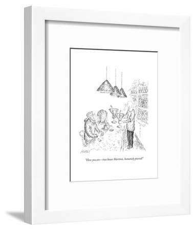 """""""Here you are?two house Martinis, humanely poured!"""" - New Yorker Cartoon-Edward Koren-Framed Premium Giclee Print"""