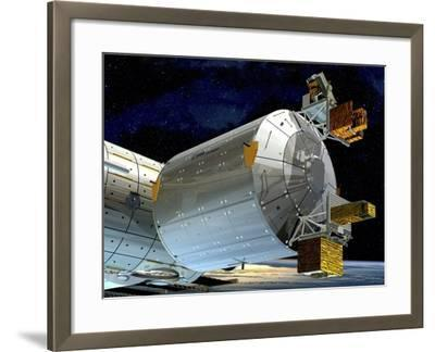 Columbus Module of the ISS, Artwork-David Ducros-Framed Photographic Print