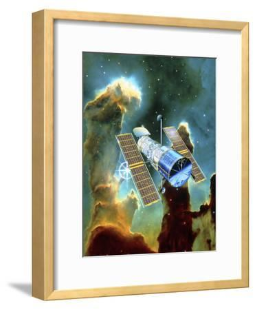 Artwork of Hubble Space Telescope And Eagle Nebula-David Ducros-Framed Photographic Print