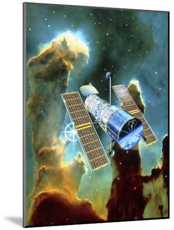 Artwork of Hubble Space Telescope And Eagle Nebula-David Ducros-Mounted Photographic Print