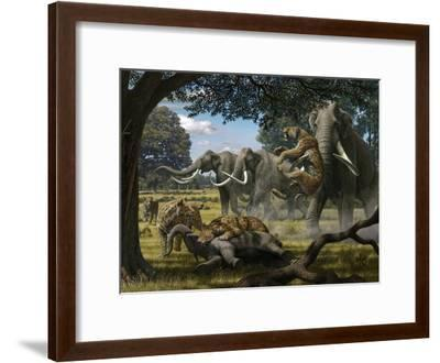 Mammoths And Sabre-tooth Cats, Artwork-Mauricio Anton-Framed Photographic Print