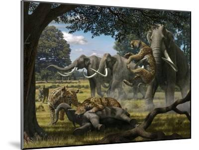 Mammoths And Sabre-tooth Cats, Artwork-Mauricio Anton-Mounted Photographic Print