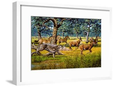 Sabre-toothed Cat Chasing Prey-Mauricio Anton-Framed Photographic Print