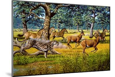 Sabre-toothed Cat Chasing Prey-Mauricio Anton-Mounted Photographic Print