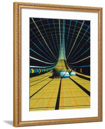 Interior of a Giant Farm Spaceship.-Julian Baum-Framed Photographic Print