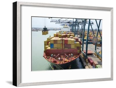 Container Ship And Port-Dr. Juerg Alean-Framed Photographic Print