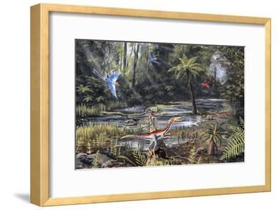 Cretaceous Life, Artwork-Richard Bizley-Framed Photographic Print