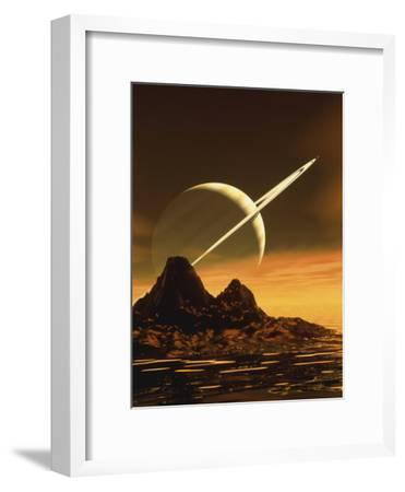 Computer Artwork of Titan's Surface And Saturn-Julian Baum-Framed Photographic Print