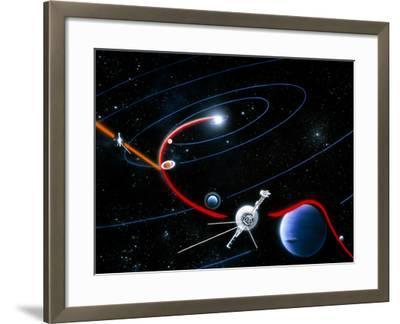 Diagram of Paths Taken by the 2 Voyager Spacecraft-Julian Baum-Framed Photographic Print