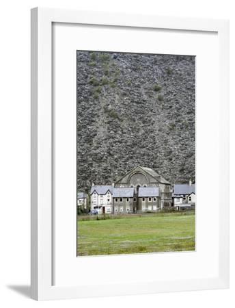 Slate Mine Waste Mountain And Houses-Martin Bond-Framed Photographic Print