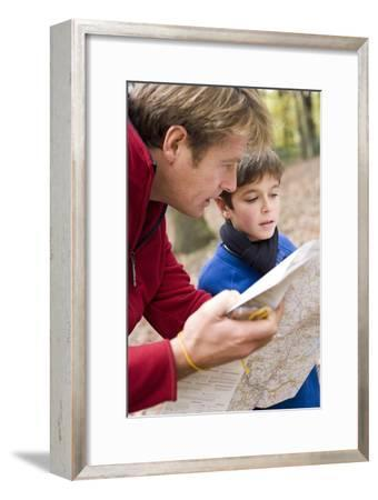 Father And Son Reading a Map-Ian Boddy-Framed Photographic Print