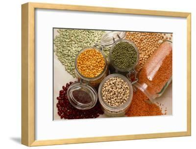 View of An Assortment of Beans And Pulses-Erika Craddock-Framed Photographic Print