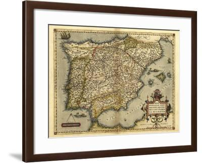 Ortelius's Map of Iberian Peninsula, 1570-Library of Congress-Framed Photographic Print