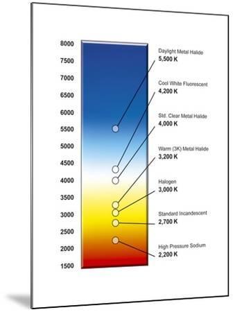 Light Bulb Colour Temperature Spectrum-Henning Dalhoff-Mounted Photographic Print