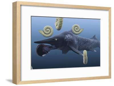 Helicoprion, with Ammonites-Christian Darkin-Framed Photographic Print