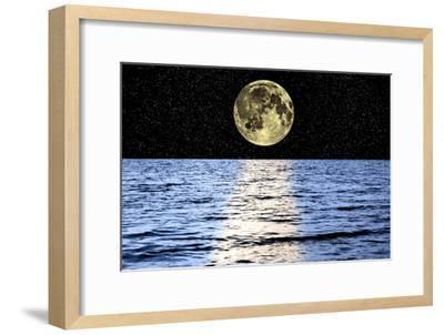 Moon Over the Sea, Composite Image-Victor De Schwanberg-Framed Photographic Print