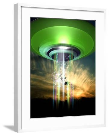 UFO Cattle Abduction, Conceptual Artwork-Victor Habbick-Framed Photographic Print