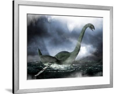 Loch Ness Monster, Artwork-Victor Habbick-Framed Photographic Print