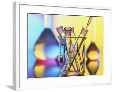 Test Tubes In Beaker with Pipette And Flasks-Tek Image-Framed Photographic Print