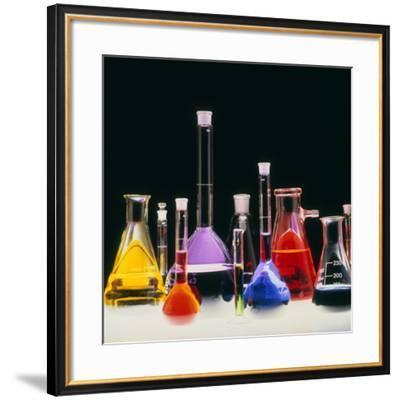 Assortment of Laboratory Flasks Holding Solutions-Tek Image-Framed Photographic Print