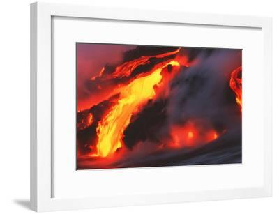 Molten Lava Flowing Into the Ocean-Brad Lewis-Framed Photographic Print