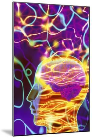 Artwork of Human Head with Brain And Light Trails-Mehau Kulyk-Mounted Photographic Print