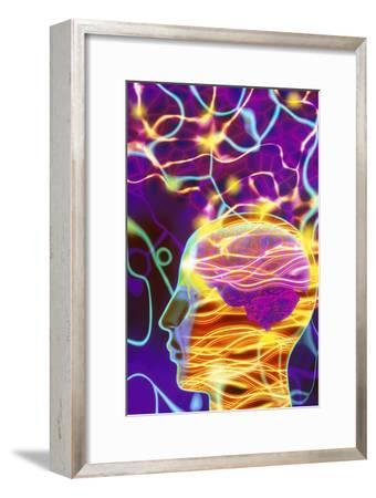 Artwork of Human Head with Brain And Light Trails-Mehau Kulyk-Framed Photographic Print