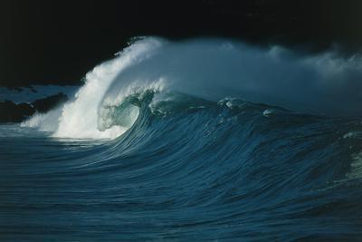 Wind-blown Wave Breaking In Hawaii-Brad Lewis-Framed Photographic Print