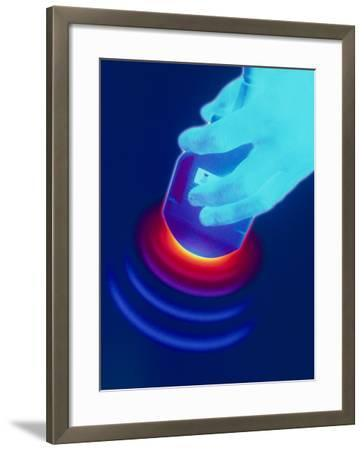 Artwork of a Hand Holding An Ultrasound Transducer-David Gifford-Framed Photographic Print