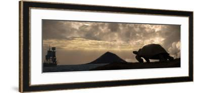 Galapagos Giant Tortoise And Sail Ship-Paul Stewart-Framed Photographic Print