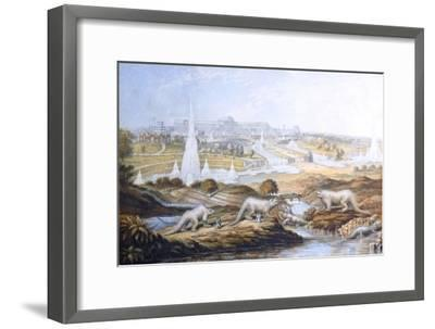 1854 Crystal Palace Dinosaurs by Baxter 2-Paul Stewart-Framed Photographic Print