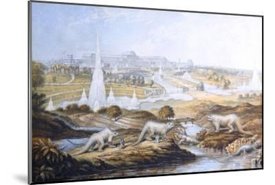 1854 Crystal Palace Dinosaurs by Baxter 2-Paul Stewart-Mounted Photographic Print