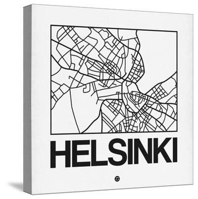 White Map of Helsinki-NaxArt-Stretched Canvas Print