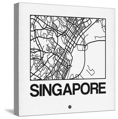 White Map of Singapore-NaxArt-Stretched Canvas Print